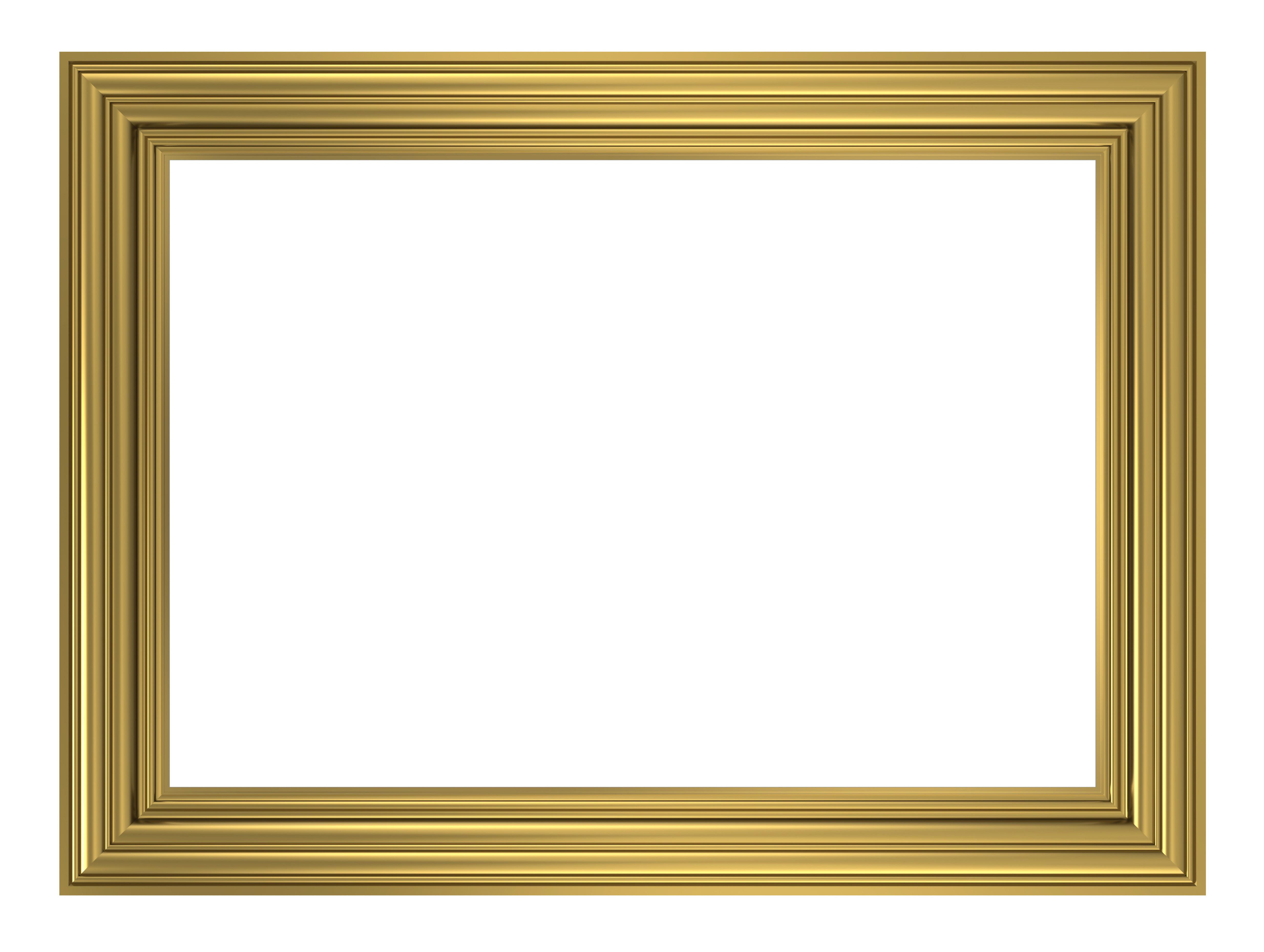 Gold frame isolated on white background.   Wedding ...